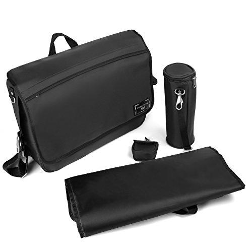 Vangoddy Casy Men Or Women's Unisex Baby Diaper Travel Shoulder Bag, Jet Black, One Size by Vangoddy