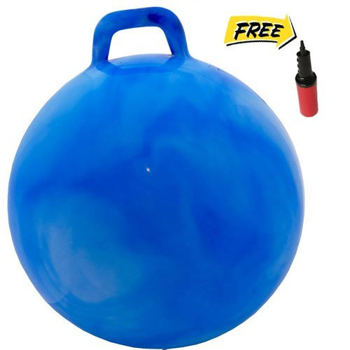 WALIKI TOYS Hopper Ball For Adults (Hippity Hop Ball, Hopping Ball, Bouncy Ball With Handles, Sit & Bounce, Space Hopper, Kangaroo Bouncer, Jumping Ball, Ages 16-101, 29 Inches, Hurricane Blue, Pump) ()