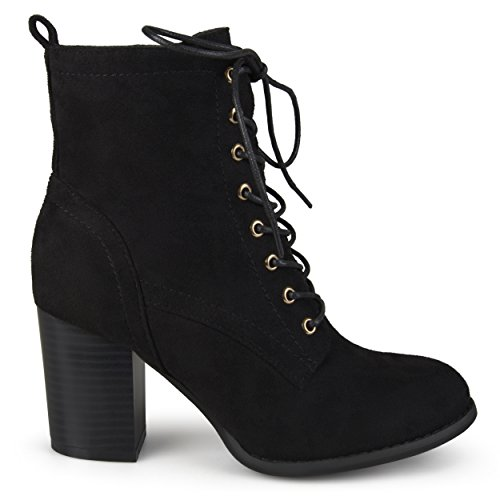 Brinley Co. Womens Lace-up Stacked Heel Faux Suede Booties Black, 10 Regular US