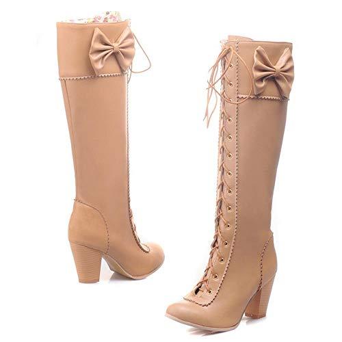 Abricot Lacets Le Mode Bottes Femmes Haute Taoffen Genou wfPW7RPq