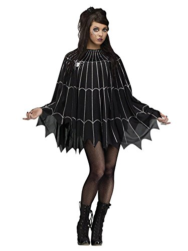 (Fun World Women's Spider Web Poncho Costume, Multi)