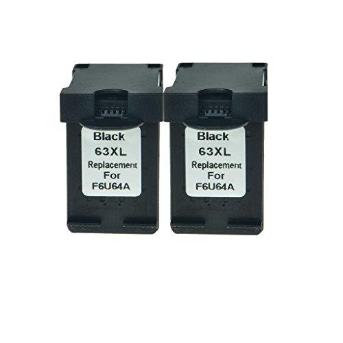 Superink 2PK Remanufatured F6U64A High Capacity Ink Compatible For HP 63XL Black Ink Cartridge Deskjet 2130 2131 Printers,Show Ink level