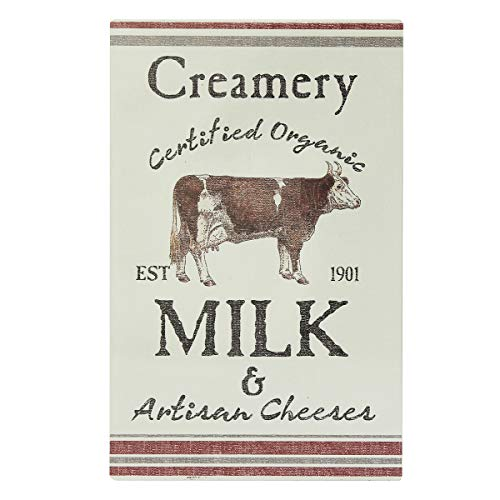 NIKKY HOME Creamery Certified Organic Milk & Artisan Cheeses Farmhouse Metal Wall Decor Sign, 10
