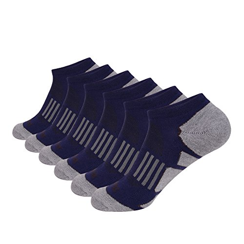 JOYNÉE Men's 6 Pack Athletic No Show Performance Cushioned Low Cut Running Socks ()
