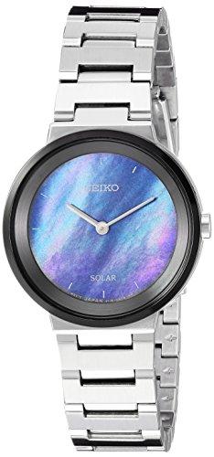 Seiko Women's Ladies Dress Japanese-Quartz Watch with Stainless-Steel Strap, Silver, 13 (Model: SUP385) (For Watches Solar Women Seiko)
