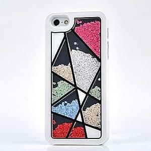 ZXM-Lujo de diamantes de imitación tangram caso de la contraportada para el iphone 5 / 5s (colores surtidos)
