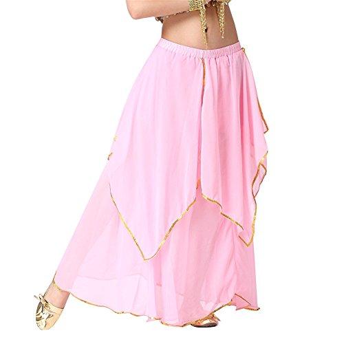 Belly Dance Skirt 4-Pieces Gold Trim Skirt Dancing Dress Chiffon Belly Dance Costume light pink