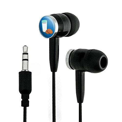 Glass of Milk and Cookies Novelty in-Ear Earbud Headphones - Black
