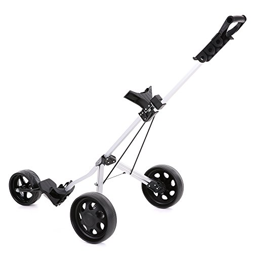 TOMSHOO 3 Wheels Golf Push Cart Foldable Aluminum Pull Cart Trolley with Footbrake System by TOMSHOO (Image #6)