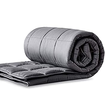 Image of LIANLAM Weighted Blanket (15 lbs, 48'x72', Dark Grey), Cooling Weighted Blanket for Adults, 100% Natural Cotton Material with Premium Glass Beads LIANLAM B07WRXJ2M1 Weighted Blankets