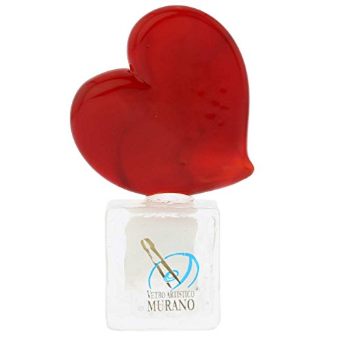 (GlassOfVenice Murano Glass Red Heart On Ice Cube)