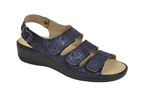 Sandalo Ortopedico Con Plantare Intercambiabile Blu Metallizzato