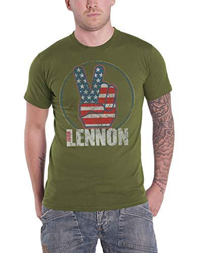 John Lennon T Shirt Peace Fingers Us Flag Logo Official Mens Green Size XL