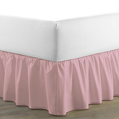Precious Star Linen 800 Thread Count 1pc Dust Ruffle Bed Skirt Solid Twin-XL (39'' x 80'') Size 36 inch Drop Length 100% Egyptian Cotton (Baby Pink) by Precious Star Linen