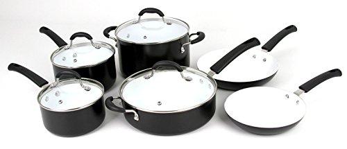 Oneida 10pc Aluminum PFOE/PTFE Free Non-stick Ceramic Cookware Set. Dishwasher Safe