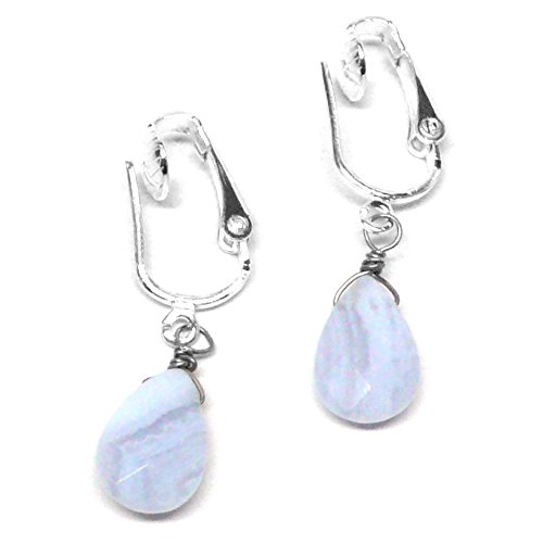Blue Lace Agate Briolette Clip-On Non-Pierced Earrings Silver-Tone