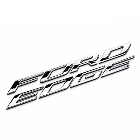 Silver Ford Edge Metal Front Hood Emblem Set Stickers Adhesive Badge