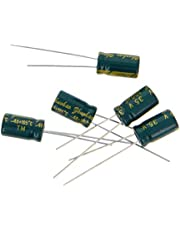 Fielect 50Pcs Aluminum Radial Electrolytic Capacitor Low ESR Green 100uF 35V 6x11mm High Ripple Current,Low Impedance for TV, LCD Monitor, Radio, Stereo, Game