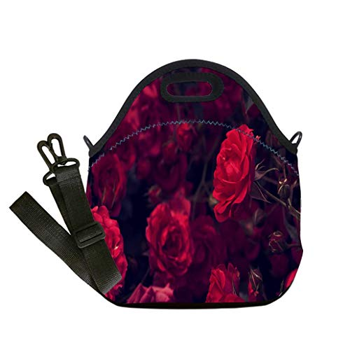 Custom Digital Printing Insulated Lunch Bag,Neoprene Lunch Tote Bags Rose on a background of roses texture author processing Selective Student Company School, Multicolor, Adults and Children