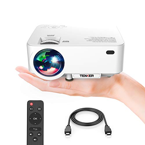 Projector, Upgraded TENKER Projector, 60% Brighter, Mini Home Theater Movie Projector with 4.0 LCD and Up to 176-inch Display, Supports 1080P HDMI/USB/SD Card/AV/VGA for TVs/Laptops/Games