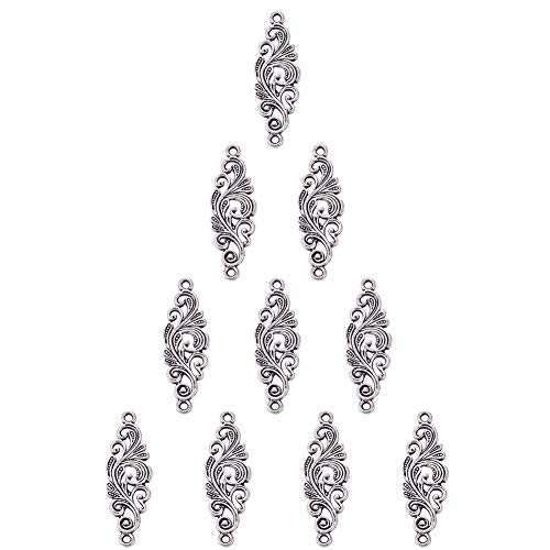 Flower Silver Filigree Sterling - SUNNYCLUE 1 Box 10pcs Thai Sterling Silver Filigree Flower Wrap Connector Charms 30x10mm for DIY Jewelry Making Findings Accessory Craft Supplies, Nickel Free
