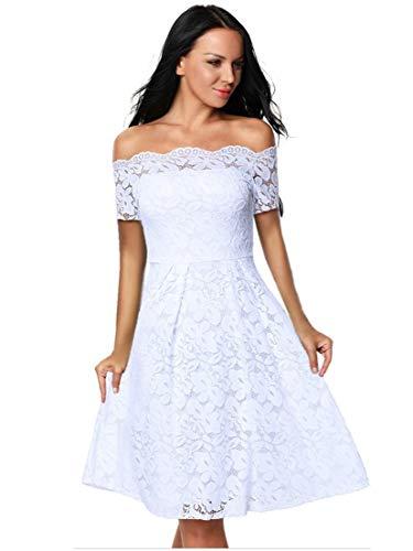 Eastylish Elegant Women's Sexy Off Shoulder Lace Casual Cocktail Wedding Party Dress (Medium, White/Short Sleeve) ()