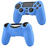 Insten Green 10FT Micro USB Charger Cable + Blue Skin Case Cover Compatible With Sony PS4 controller
