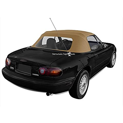 Mazda Miata, 1990-1997 Cabrio Vinyl Complete Convertible Top Replacement with Clear Plastic Window with Rain Rail, Light Tan