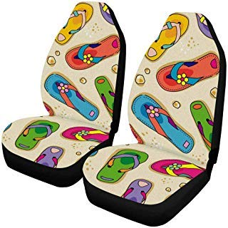 - INTERESTPRINT Flip-Flops and Beach Sand Auto Seat Covers 2 pc, Car Front Seat Cushion Fit Car, Truck, SUV or Van...