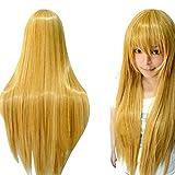 ZyrunaeL Wigs 80cm Long Straight Anime Fashion Women's Cosplay Wig Party Wig (80cm, Yellow)