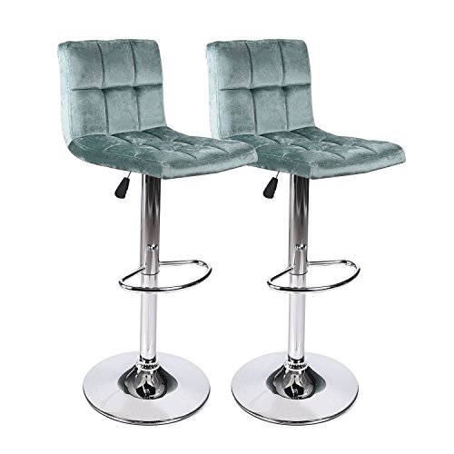 Color Bar Green - PULUOMIS Modern Square Flannel Adjustable Bar Stools with Back,Set of 2,Counter Height Swivel Stool Green