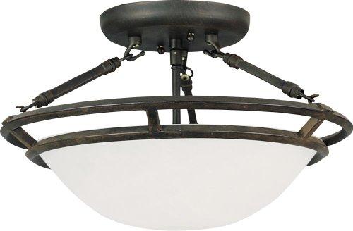 Three Light Bronze Marble Glass Bowl Semi-Flush Mount 2670MRBZ