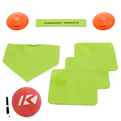 Rukket Kickball Set with Bases | Rubber Throw Down Plates and Kick Ball | Perfect for Kids and Adults | Playground and Backyard Game | Air Pump and Foul Line Cones