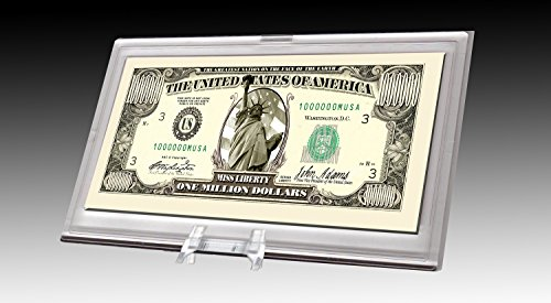 (Million Dollar Bill Desktop Collectible - Comes in Currency Stand - Beautiful Best Quality Office Desk Top Accessory Gift - Toy, Prank, Gag)