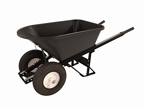 Bon 28 907 Premium Contractor Grade Poly-Tray Double Wheel Wheelbarrow with Steel Hande and Knobby Tire, 5-3/4 Cubic Feet ()