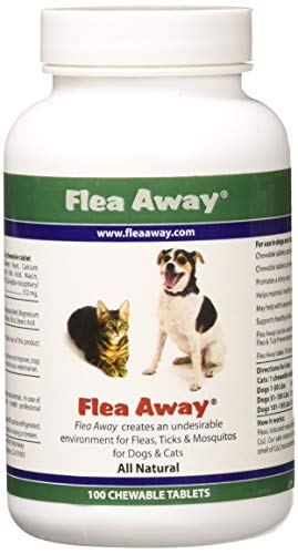 Flea Away All Natural Flea, Tick, Mosquito Repellent for Dogs & Cats, 100 Chewable Tablets, Single (Flea Tick And Mosquito Control For Dogs)
