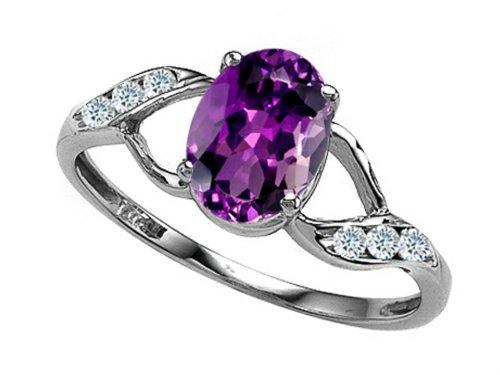 - Tommaso Design Oval Genuine Amethyst Ring 14 kt White Gold Size 5.5