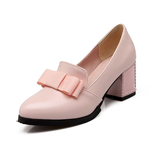 Closed Heels Pointed On WeiPoot Toe Pink Solid Kitten Shoes Women's Pull Pumps Pu 6IHSqY