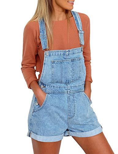 Utyful Women's Adjustable Straps Denim Bib Overalls Shorts Roll Cuff Shortalls Light Blue Size XXL