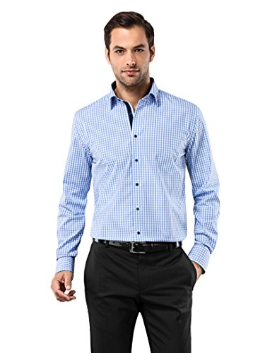 Non Iron Twill Stripe Dress Shirt (Vincenzo Boretti Men's Shirt Regular Fit Non Iron Checked)