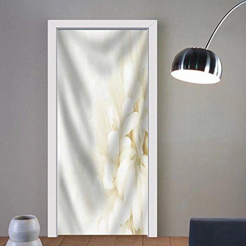 Gzhihine custom made 3d door stickers Loseup of Tender White Chrysanthemum Flower Fabric Home Decor For Room Decor 30x79 by Gzhihine