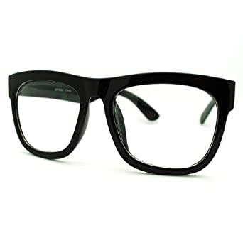 Glasses Frames Thick Black : Amazon.com: Black Oversized Square Glasses Thick Horn Rim ...