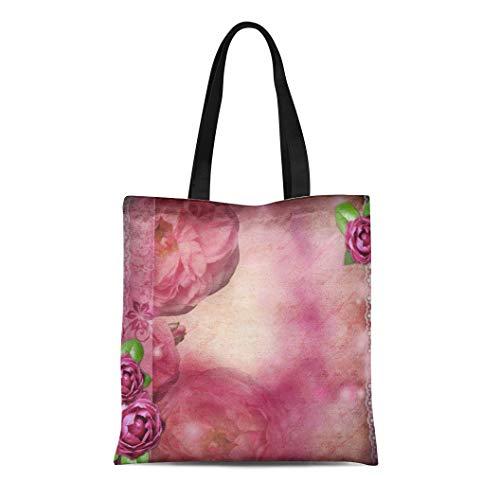 Semtomn Canvas Tote Bag Shoulder Bags Heritage Purple Wedding Romantic Pink Roses Lace Text White Women's Handle Shoulder Tote Shopper Handbag ()