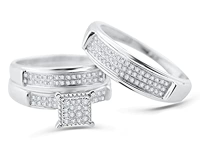 White Gold Trio Wedding Set Mens Women Rings Real 1/3cttw Diamonds Pave (I2/i3 Clarity, I/j Color)