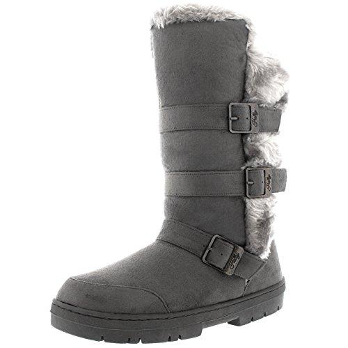Womens Fur Lined Riding Waterproof Triple Buckle Winter Snow Rain Boots - Gray/Gray Fur - US9/EU40 - BA0467
