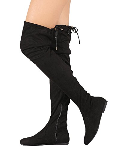 ROF Women's Faux Suede Fitted Flat to Low Heel Over The Knee High Boots BLACK SUEDE (8.5)