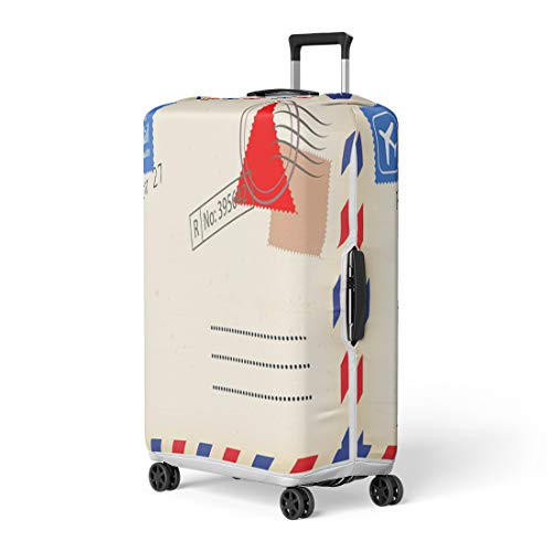 Pinbeam Luggage Cover Old Airmail Back Border Post Send Stamp Travel Suitcase Cover Protector Baggage Case Fits 26-28 inches -