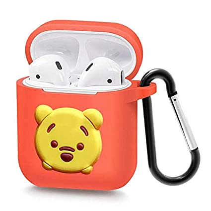 91b7e90b6da9 Airpods Case Wireless Headphone Keychain Accessories Protective Silicone  Cover and Skin with Carabiner for Apple Airpods