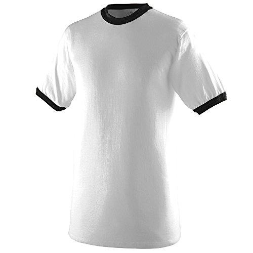 Mens Ringer T-shirt - Augusta Sportswear Mens Ringer Tee Shirt, White/Black, Large