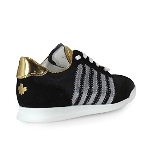 DSQUARED2 NEW RUNNER BLACK AND GOLD SNEAKERS